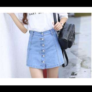 Light Blue Denim Button Down Skirt With Safety Shorts