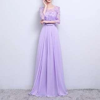 Purple mesh floral design dress / Evening Gown