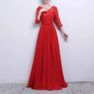 red mesh design floral Dress / evening gown