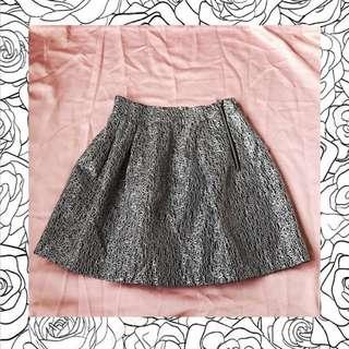 rok wanita gold black motif flare skirt import bkk