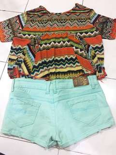 1 stell hotpants dan atasan tribal