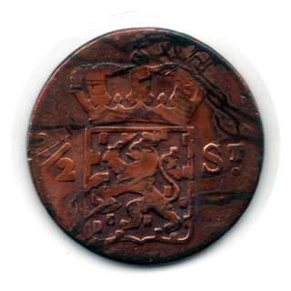 Netherlands East Indies Island of Sumatra 1/2 Stuiver coin-00104