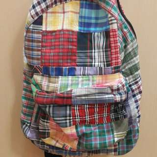 Checkered patchwork backpack