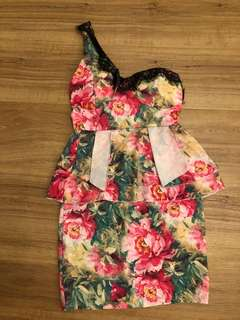 Bn one shoulder padded floral dress