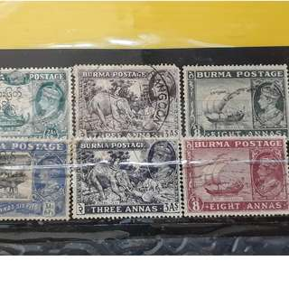 BRITISH BURMA - King GEORGE VI - 6 Commemorative Stamps Set