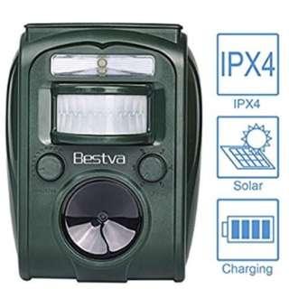 BESTVA Cat Repellent Solar Battery Operated Ultrasonic Animal Repeller Cat Repeller Outdoor Waterproof Cat Scarer for Cat Dog Mole