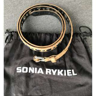 TYAN Sonia Rykiel Leather Belt M Size Beige with Round Metal Decorations (Excellent Condition)