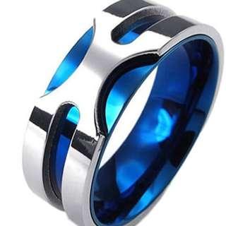 帝王經典樂隊藍色首飾男士戒指尺寸5-14