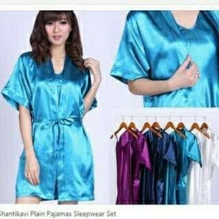 SW Satin Kimono Polos  bahan satin daster + kimono freesize