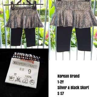 Korean Silver & Black Skort 1-2Y