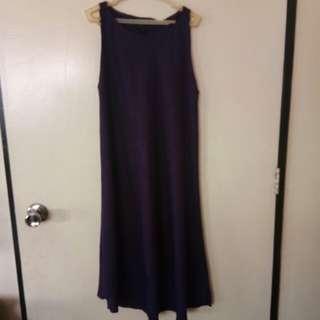 Purple long back dress