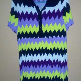 Collared Blouse Abstract Pattern Design