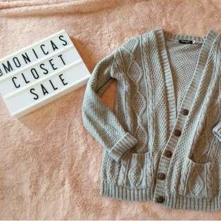 Grey Cable Knit Cardigan Sweater