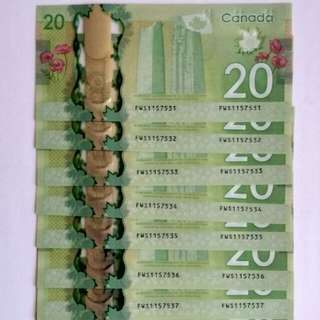 Canada $20 commemorative banknotes