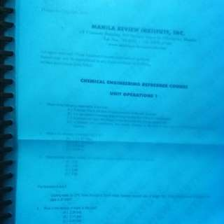 Manila Review Institute Inc. Chem. Eng. Refresher Course Reviewer (with previous board exam questions)