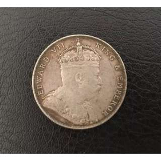 Straits Settlements 1907 $1 silver coin
