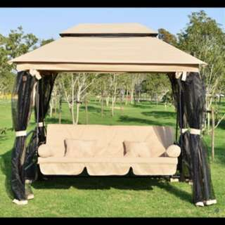 BNIB GAZEBO 3 SEAT RECLINING SWING/DAY BED WITH CANOPY & MOSQUITO NET PANELS