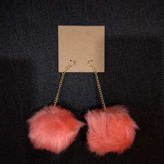 Pink Fur Ball Earrings