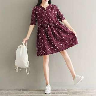 [INSTOCK] Burgundy Printed Floral Cotten Linen Long Sleeve Dress