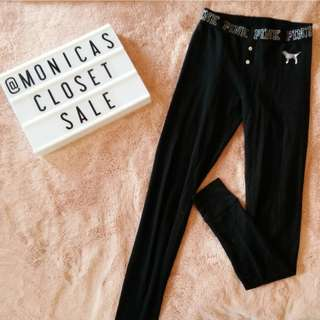 Victoria's Secret PINK: Black Thermal PJ Leggings Pants