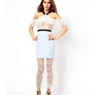 Three floor off shoulder lace maxi dress