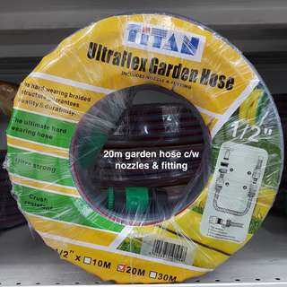 TITAN Garden Hose 10m, 20m, 30m c/w nozzles on Offer @ FairPrice Xtra Outlets