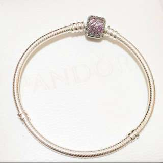 Pandora Purple Pave Clasp Bracelet Sz 21cm