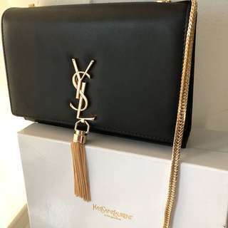 Saint Laurent Classic Black Leather Medium Kate Tassel Satchel