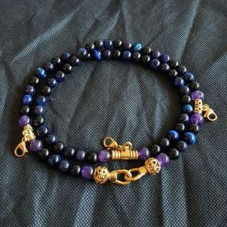 Sold - Nice Quality Blue Tiger Eye, Amethyst & Black Onyx beads 4 Hooks Necklace
