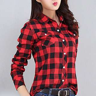 Korean Plaid Polo red and black