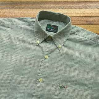Kemeja GREG NORMAN SHARK Vintage Plaid Shirt Short Sleeve