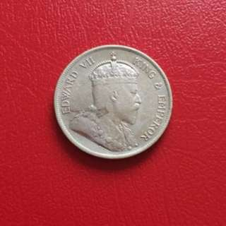 Straits Settlements 1908 50 cents silver coin