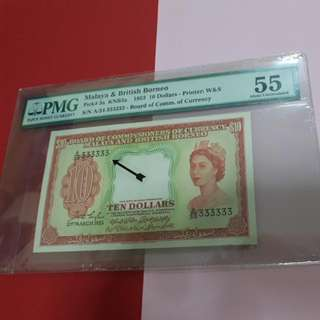 $10-MBB 1953 SOLID A/34-333333. ORIGINAL PMG55.VERY VERY RARE IN HIS GRADE.COLLECTORS ITEM.