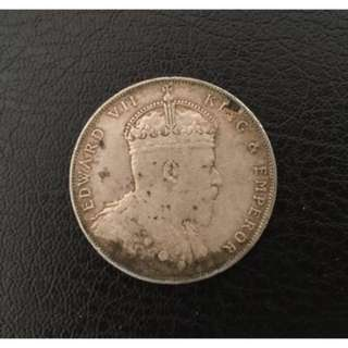 Straits Settlements 1908 $1 silver coin