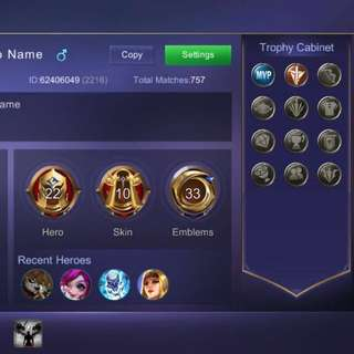 Mobile legend account for sell IOS