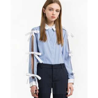 Ribbon blue top blouse