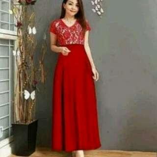 Dress Atas brukat/ dress mariah merah