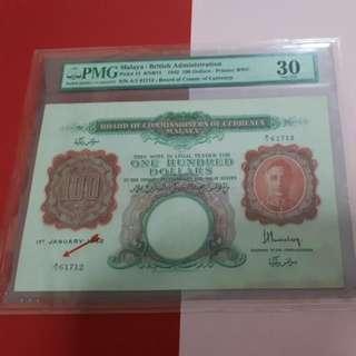 $100-1941-MALAYA PMG30.ORIGINAL. BEHIND REMARKS ANNOTATION. 1ST PREFIX RARE.A/1-61712.