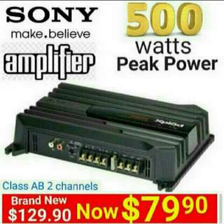 SONY 500watts Amplifier Peak Power - class AB with 2 channels . (Model: XM-N502)  Usual price: $129.90.Special Offer:$ 79.90 ( Brand New In Box & Sealed) whatsapp  85992490 to Pickup from Any Mrt Stn In Town.