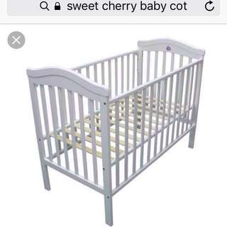Baby cot + mattress + FREE cot bumpers