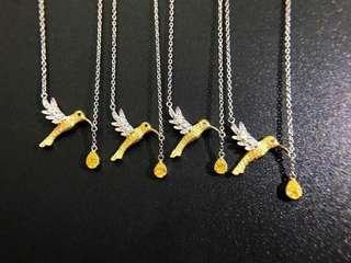 18K白金 黃鑽鑽石項鍊