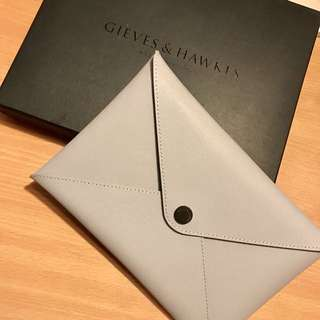 Gieves & Hawkes銀灰色clutch pouch
