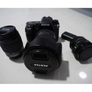 Pentax k-5, DA*16-50 f2.8 lens, DA35 f2.4 lens, 50-200 lens