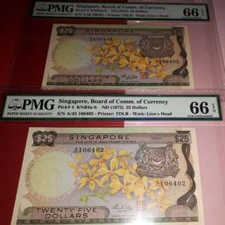$25-ORCHID YELLOW PAPER 2PCS RUNNING. BOTH PMG66EPQ. A/45-106401-02.
