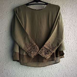Olive Laced Tops