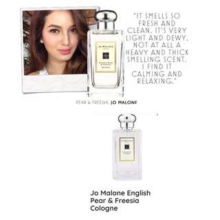 Jo Malone English Pear and Freesia:   The essence of autumn. The sensuous freshness of just-ripe pears is wrapped in a bouquet of white freesias, and mellowed by amber, patchouli and woods. Luscious and golden.  Accords: floral, fruity, sweet