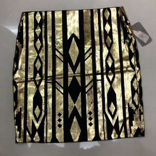 High Waist Black and Gold Skirt
