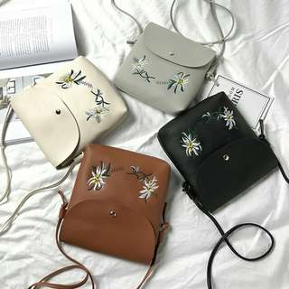Sling Bag PU leather Flower Embroidery