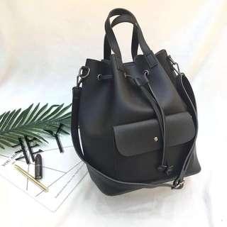 3 Way Carry Bucket Bag - Black or Grey