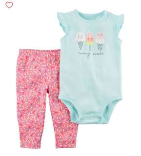 *9M* Brand New Carter's 2-Piece Bodysuit Pant Set  For Baby Girl